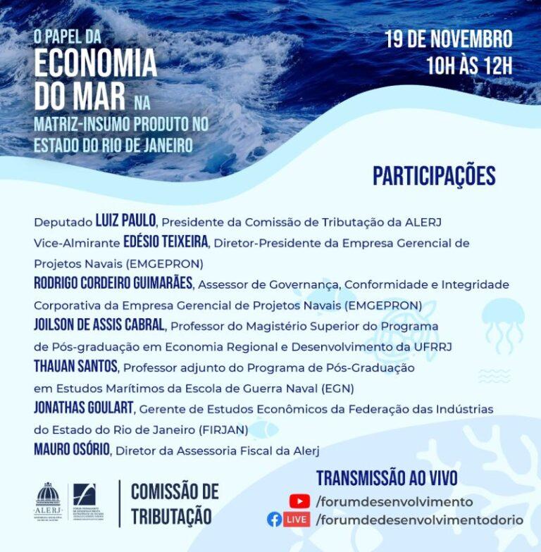"""WEBINAR """"O papel da Economia do Mar na Matriz-Insumo Produto no Estado do Rio de Janeiro"""""""